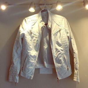 White faux leather jacket